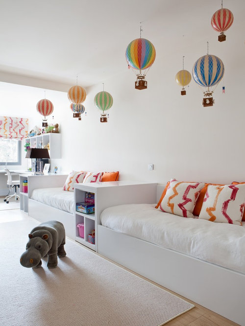 Hot air balloon lampshade houzz large trendy gender neutral light wood floor kids room photo in madrid with white aloadofball Images