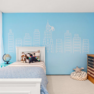 Design ideas for a mid-sized transitional kids' bedroom for kids 4-10 years old and boys in Melbourne with white walls, carpet and white floor.