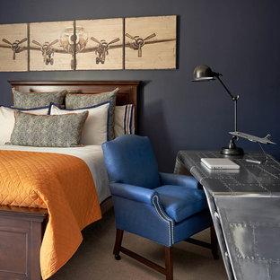 Modelo de dormitorio infantil clásico con paredes azules y moqueta