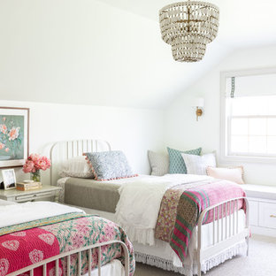 Example of a large farmhouse girl carpeted and beige floor kids' bedroom design in Chicago with yellow walls