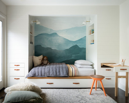 inspiration for a mid sized transitional gender neutral carpeted kids room remodel in