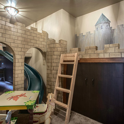 Kids' room - large 1950s gender-neutral carpeted kids' room idea in Salt Lake City with multicolored walls