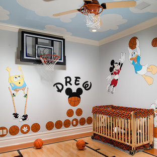 Kids' room - mid-sized traditional gender-neutral carpeted and beige floor kids' room idea in Orlando with beige walls
