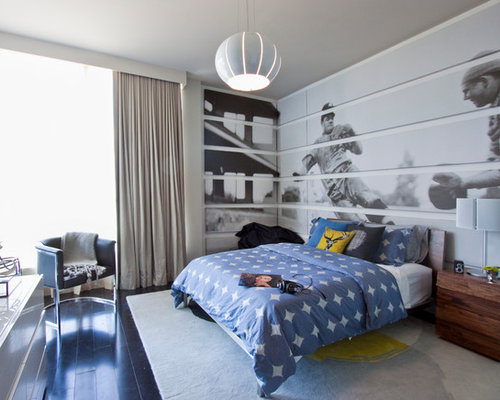 Example Of A Trendy Boy Dark Wood Floor Teen Room Design In Miami With Gray  Walls Part 57