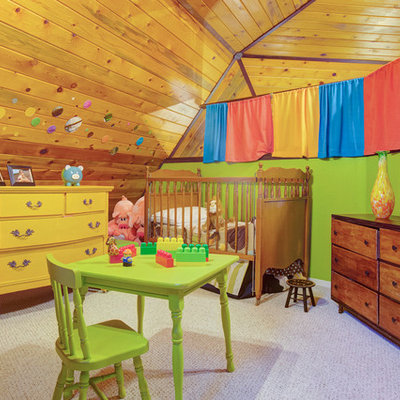 Kids' room - traditional gender-neutral carpeted kids' room idea in Minneapolis with multicolored walls