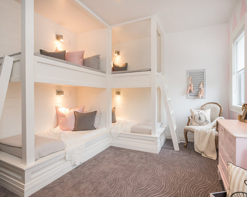 Pink white walls houzz for Moquette chambre fille