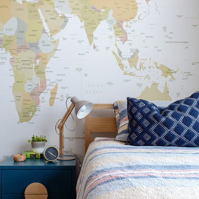 Mid-sized trendy carpeted and beige floor kids' room photo in Melbourne with white walls