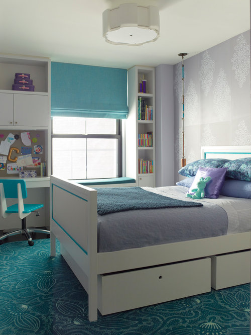 Purple and turquoise houzz - New york girls room ...