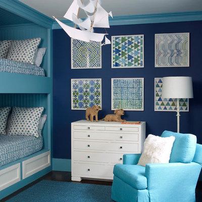 Kids' room - transitional boy dark wood floor and blue floor kids' room idea in Jacksonville with blue walls