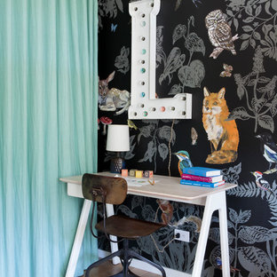Eclectic girl light wood floor kids' room photo in Los Angeles with multicolored walls