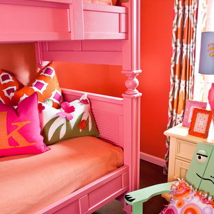 Kids Bedroom Eclectic Carpeted Idea In Nashville With Red Walls
