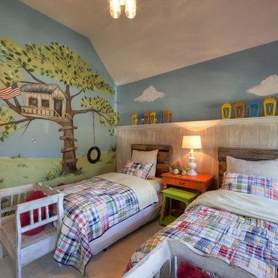 Kids' room - eclectic gender-neutral carpeted kids' room idea in Charlotte