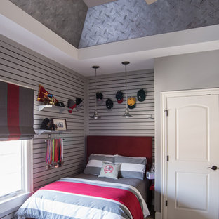 Idee per una cameretta per bambini boho chic di medie dimensioni con pareti grigie e moquette
