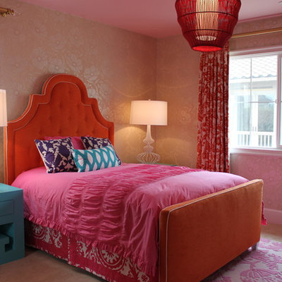 Inspiration for an eclectic girl carpeted kids' room remodel in Orange County
