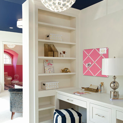 Example of a transitional girl carpeted kids' room design in Minneapolis with white walls