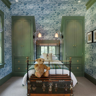 Inspiration for a victorian gender-neutral kids' bedroom for kids 4-10 years old in San Francisco with carpet and blue walls.