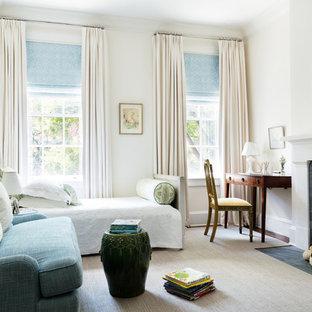 Kids' bedroom - traditional dark wood floor and brown floor kids' bedroom idea in New York with beige walls