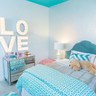 Trendy girl childrens' room photo in Sacramento with blue walls