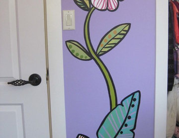Elephant Mural with Flowers