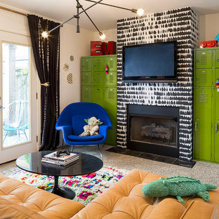 Photo of a mid-sized eclectic gender-neutral kids' room in Chicago with white walls, carpet and beige floor.