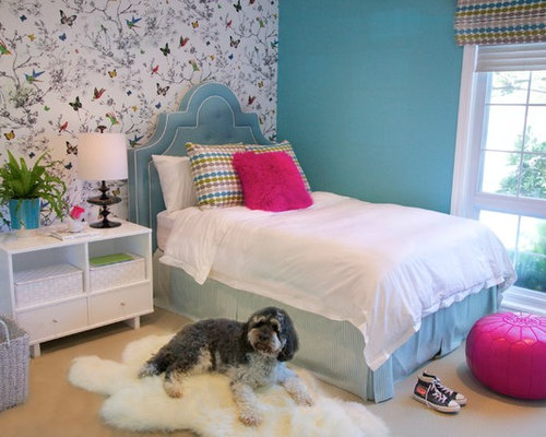 Teen girl bedroom wallpaper houzz Wallpaper for teenage girl bedroom