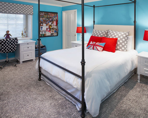 Red and turquoise girls bedroom home design ideas pictures remodel and decor - Teenager nice bedroom ...
