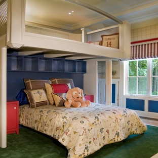 Example of a trendy boy kids' room design in Other with blue walls