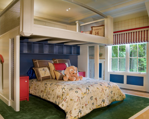 Example Of A Trendy Boy Kids Room Design In Other With Blue Walls