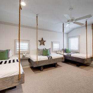 Inspiration for a large beach style kids' bedroom for kids 4-10 years old and boys in Dallas with white walls and carpet.