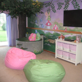 Kids' room - mid-sized girl carpeted kids' room idea in Minneapolis with multicolored walls