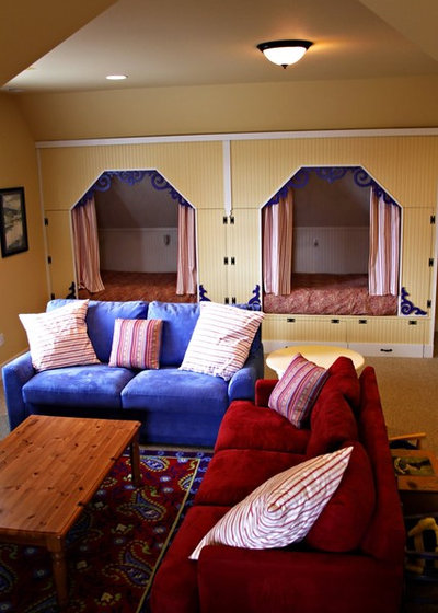 Eclectic Kids fanciful third floor retreat area for children at our beach house (bunks)