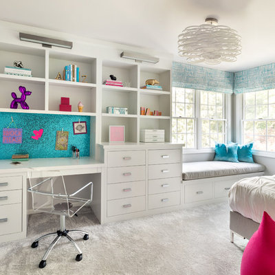 Kids' room - transitional girl carpeted and gray floor kids' room idea in New York with gray walls