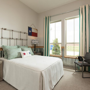 Cottage gender-neutral carpeted and gray floor kids' bedroom photo in Houston with gray walls