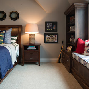 Inspiration for a mid-sized timeless boy carpeted kids' room remodel in Minneapolis with gray walls