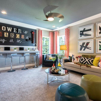 Large transitional girl carpeted kids' room photo in Tampa with beige walls