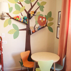 contemporary kids Floating Booshelves & Tree Wall Art