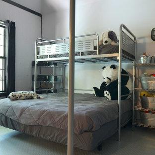 Aménagement d'une chambre d'enfant de 4 à 10 ans industrielle avec un mur blanc.