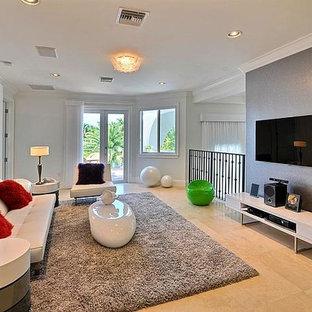 Großes, Neutrales Modernes Jugendzimmer mit Spielecke, weißer Wandfarbe und Marmorboden in Los Angeles