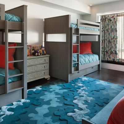 Mid-sized transitional gender-neutral dark wood floor kids' room photo in San Francisco with white walls
