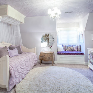 Marvelous Example Of A Classic Girl Carpeted Kidsu0027 Room Design In Detroit With Purple  Walls