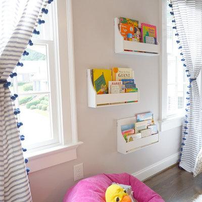Kids' room - mid-sized contemporary girl dark wood floor and brown floor kids' room idea in Atlanta with gray walls