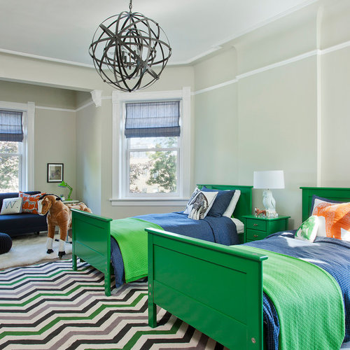 Inspiration For A Large Transitional Boy Carpeted Kidsu0027 Room Remodel In  Chicago With Green Walls