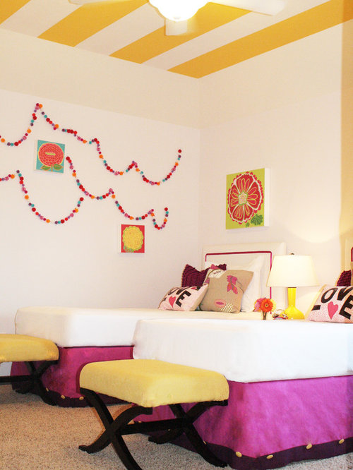 Example of an eclectic girl carpeted kids  bedroom design in Houston with  white walls. Twin Girl Bedroom   Houzz