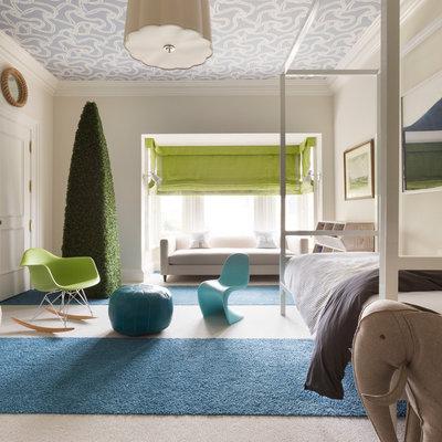 Kids' bedroom - contemporary gender-neutral carpeted kids' bedroom idea in Los Angeles with beige walls
