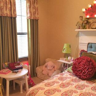 Idee per una cameretta per bambini da 4 a 10 anni eclettica con pareti beige e moquette