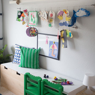 Mid-sized eclectic boy carpeted kids' room photo in San Diego with gray walls