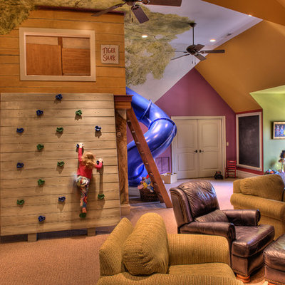 Inspiration for a large eclectic gender-neutral carpeted and beige floor kids' room remodel in Other with multicolored walls