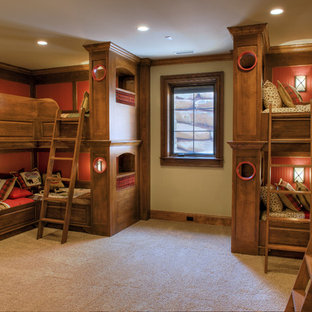 Kids' room - mid-sized rustic gender-neutral carpeted and beige floor kids' room idea in Other with beige walls