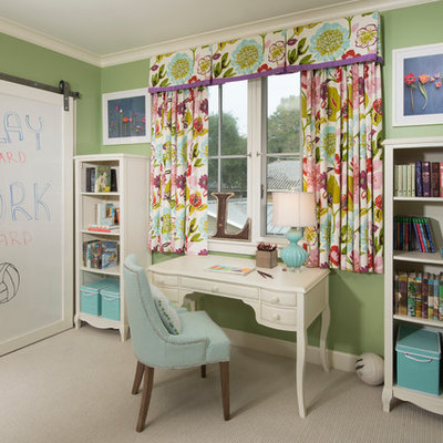 Example of a mid-sized transitional boy carpeted and beige floor kids' room design in San Francisco with green walls