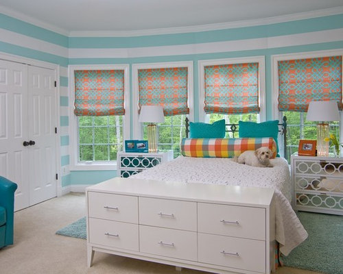Example Of A Large Classic Girl Carpeted And Beige Floor Teen Room Design  In DC Metro